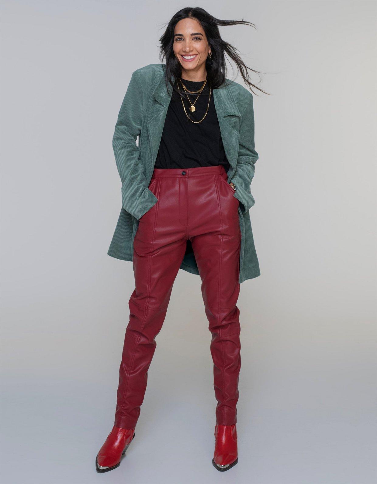 Nadia Rapti Doors eco leather pants bordeaux