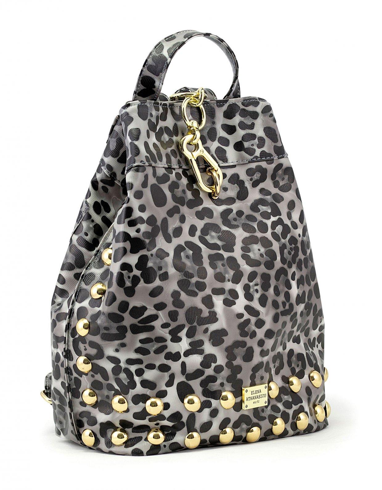 Elena Athanasiou Backpack animal print black gold