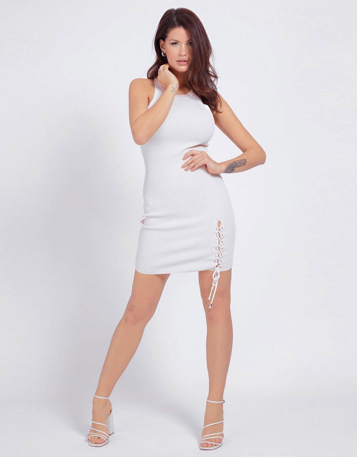 GUESS Alexa lace up rib dress