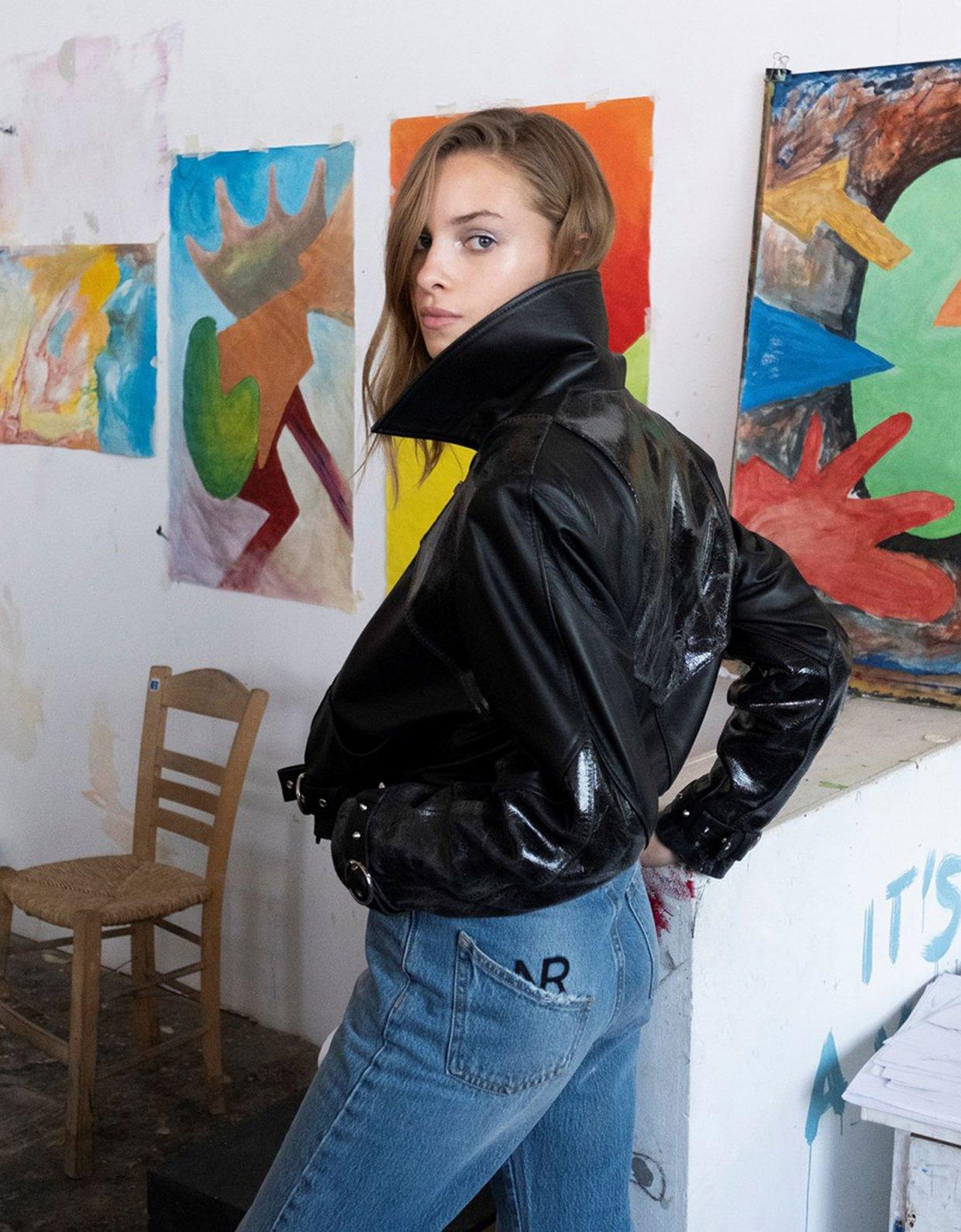 Nadia Rapti Bon Jovi blue-zip jeans