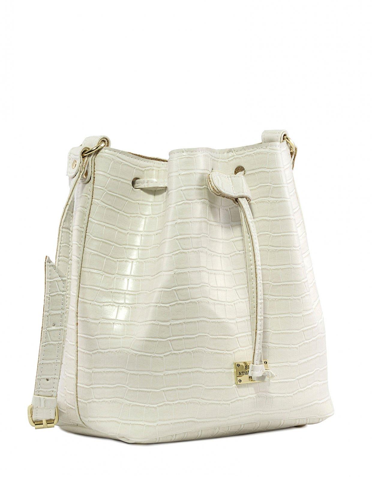 Elena Athanasiou Croco pouch bag white
