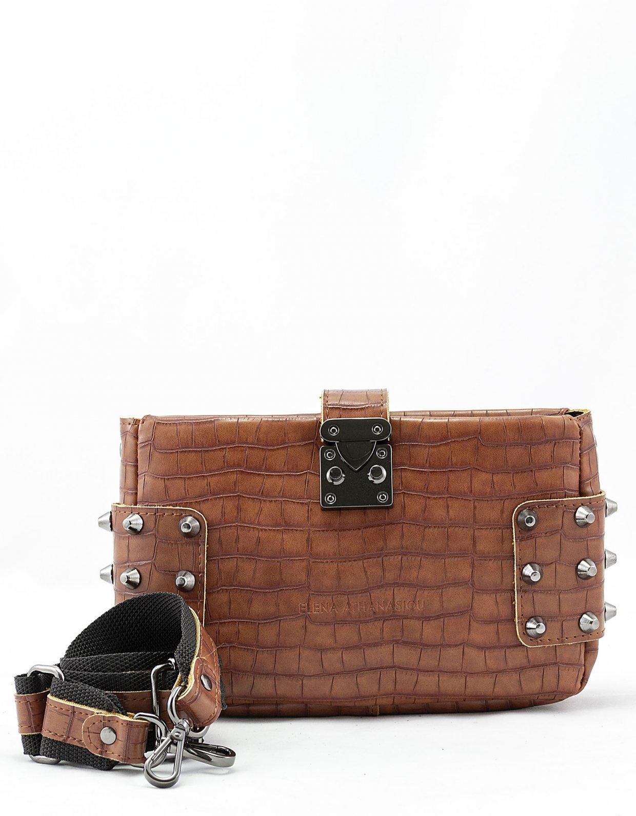 Elena Athanasiou City lady croco clutch bag taupe