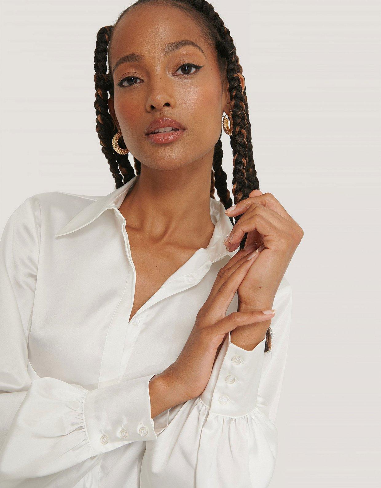 NA-KD White hidden button shirt
