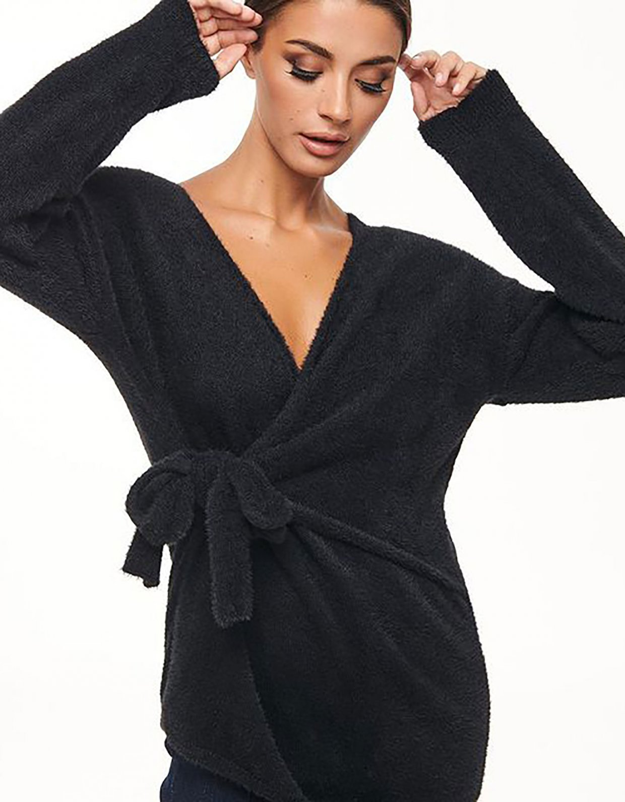 Combos Knitwear Combos W62 – Black furry wrap top