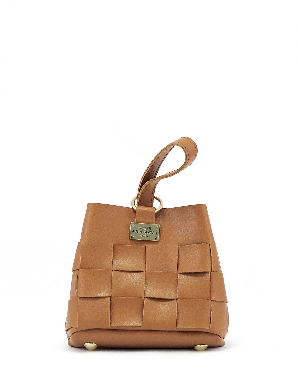 Elena Athanasiou Straw tiny bag cognac