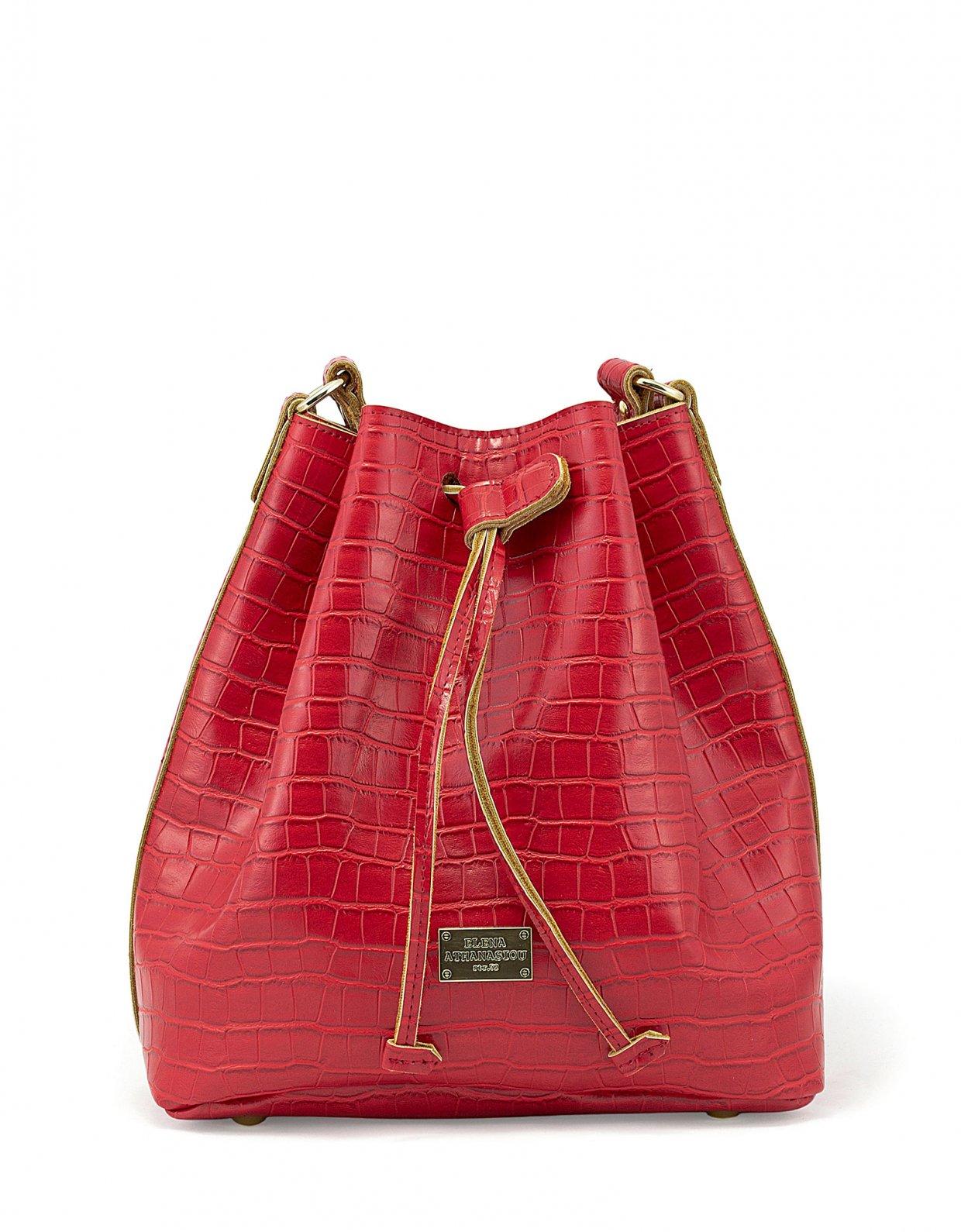 Elena Athanasiou Croco pouch bag red