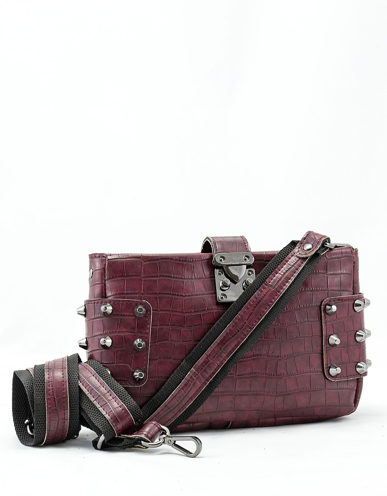 Elena Athanasiou City lady croco clutch bag burgundy