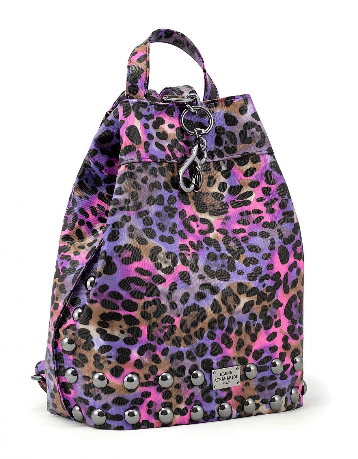 Elena Athanasiou Backpack animal print purple nickel