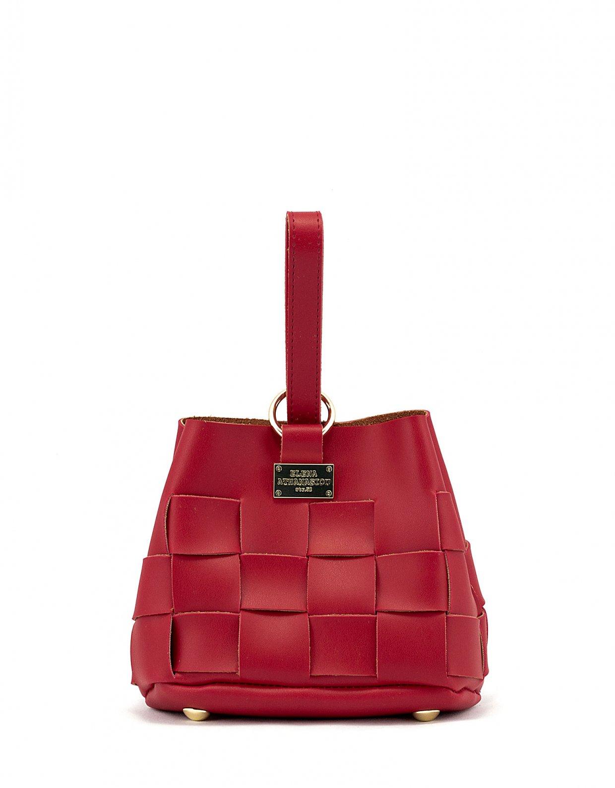 Elena Athanasiou Straw tiny bag red
