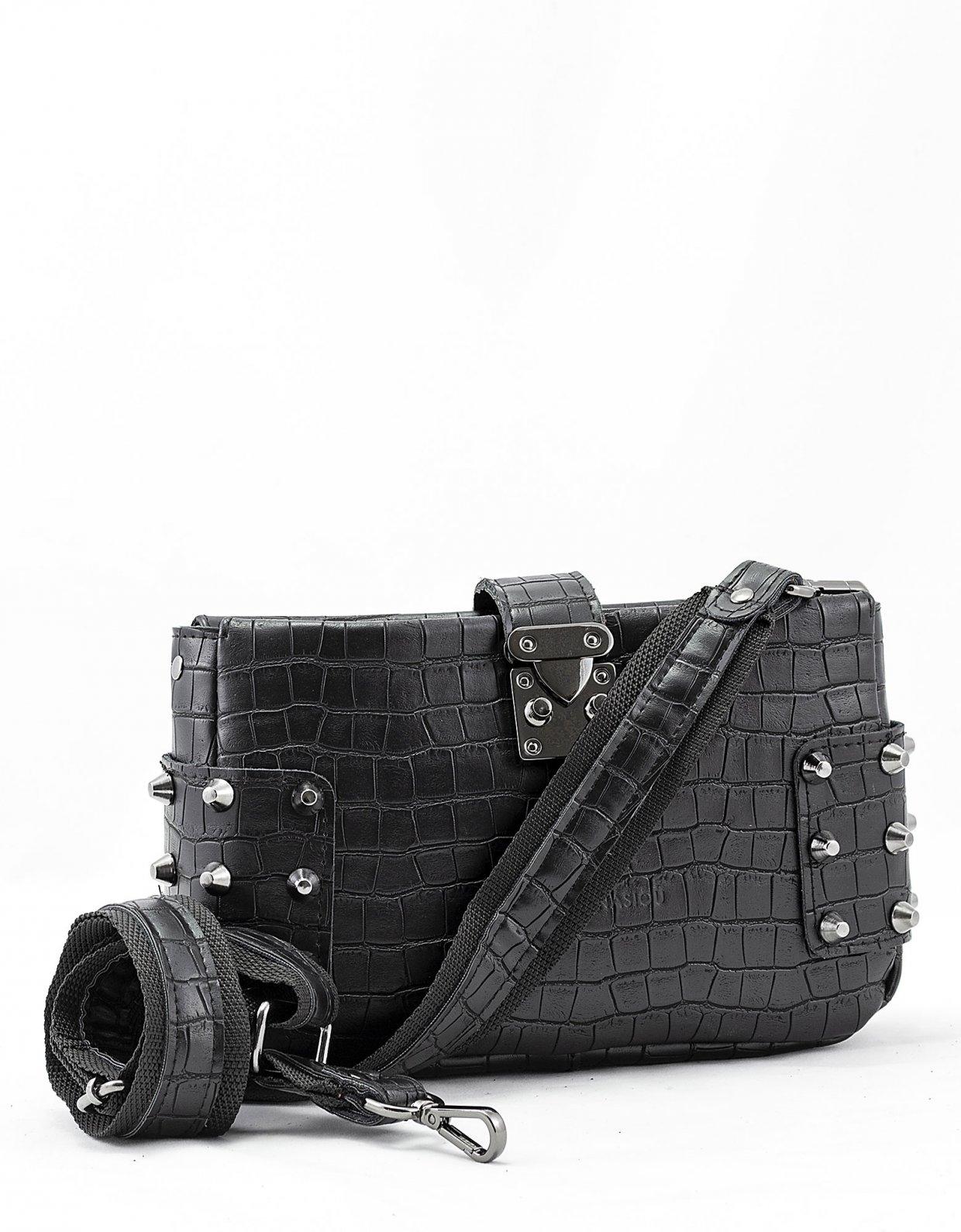 Elena Athanasiou City lady croco clutch bag black