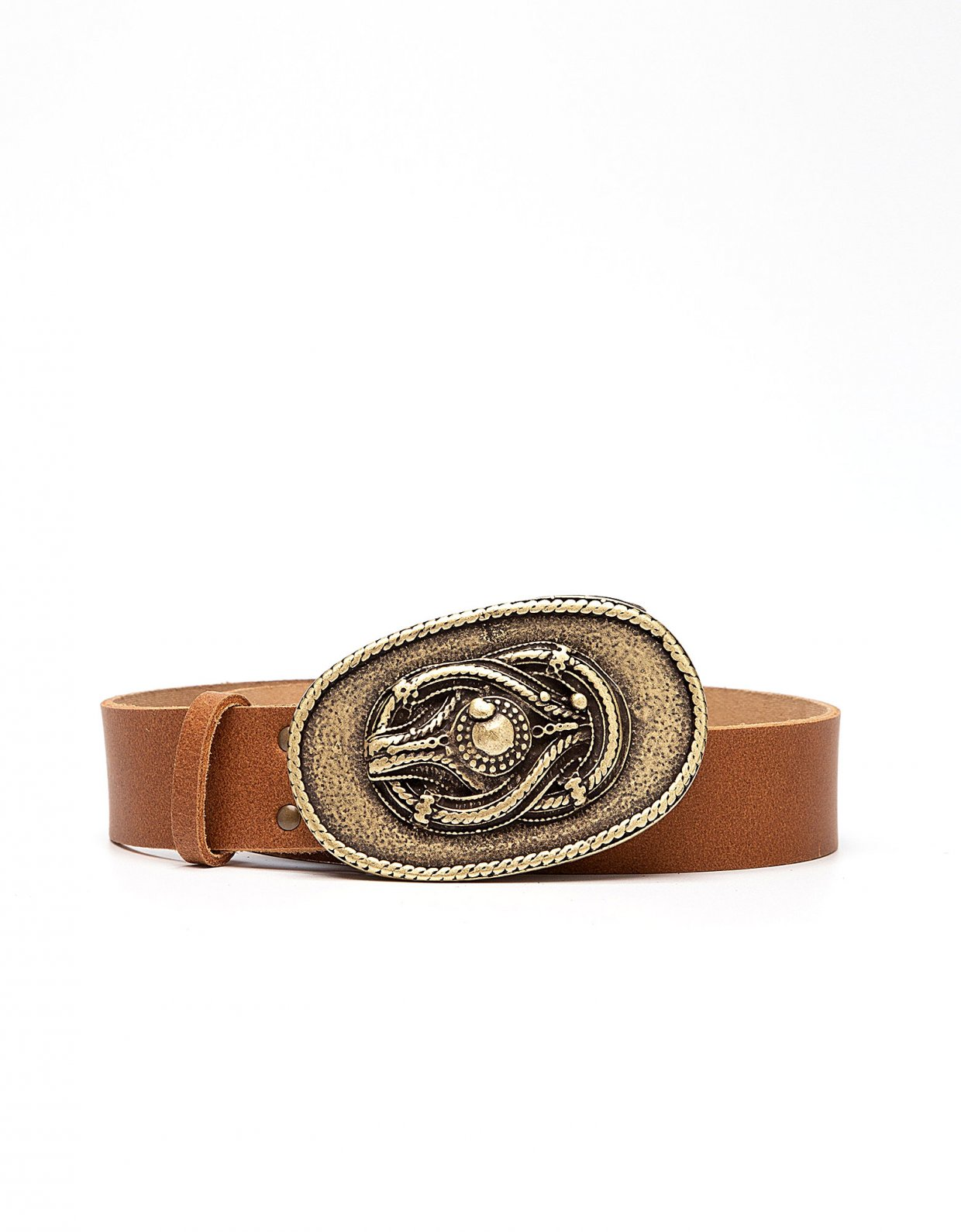 Peace & Chaos Knot leather belt tanned