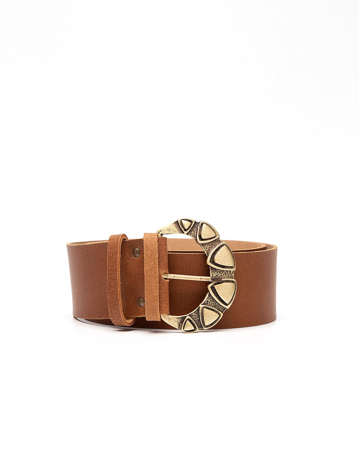 Peace & Chaos Triangles leather belt tanned