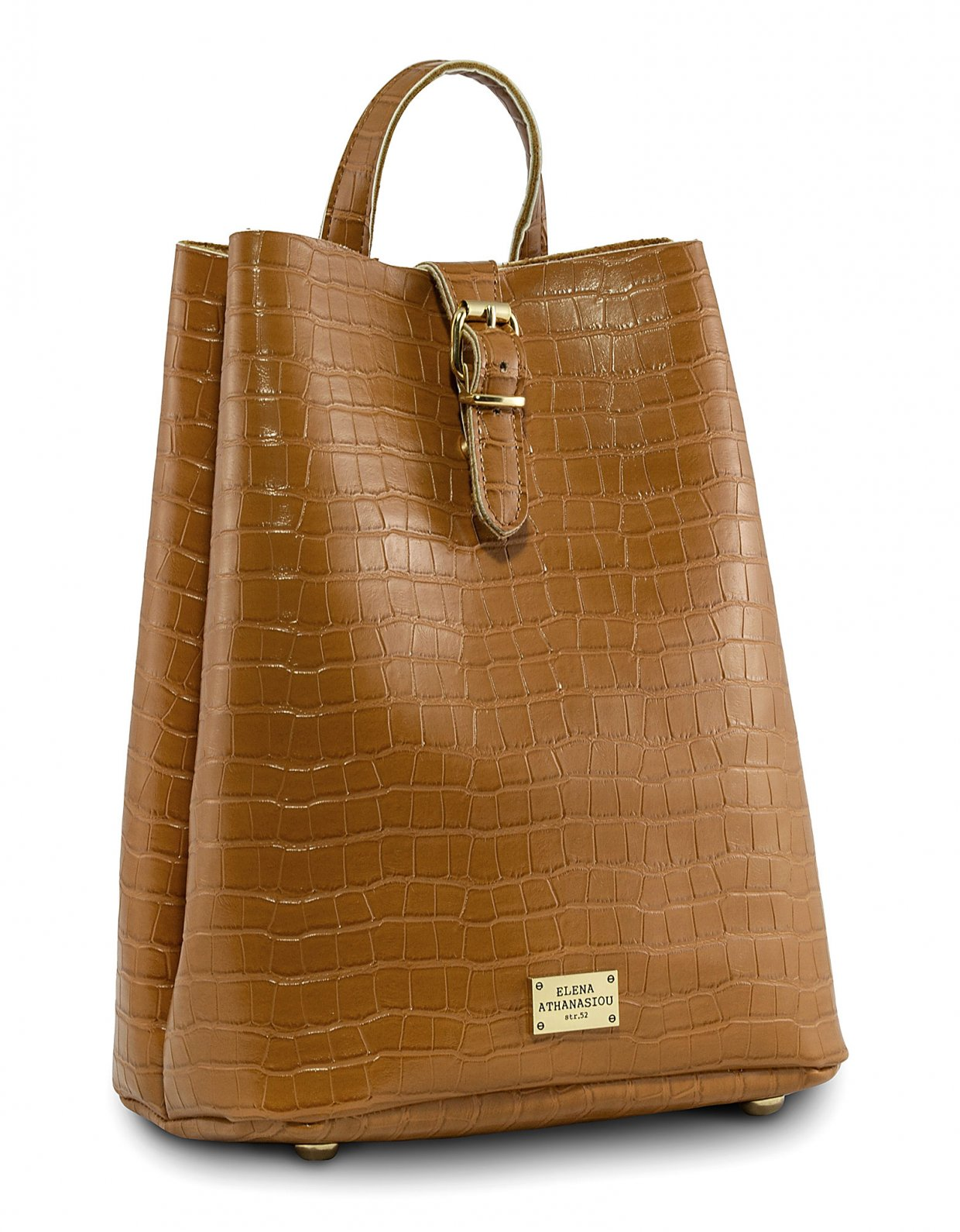 Elena Athanasiou Croco backpack cognac