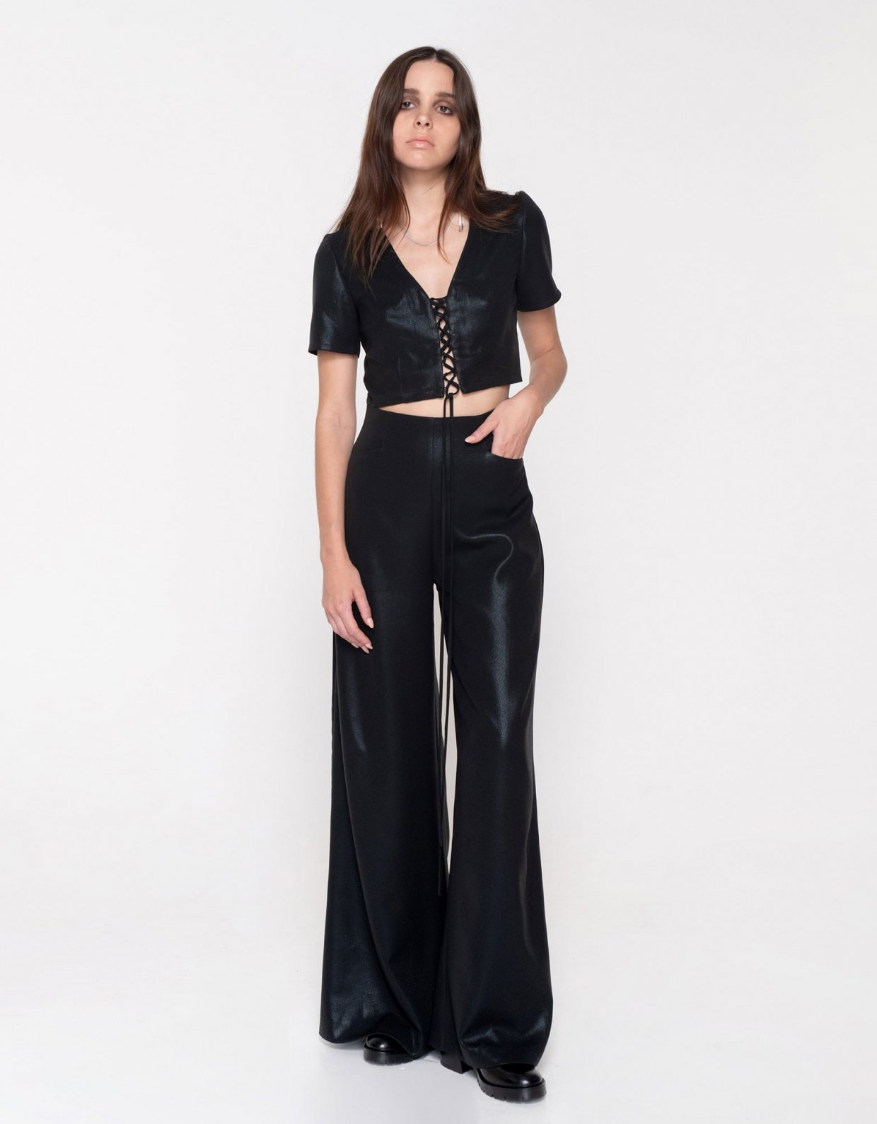 Nadia Rapti Metallic Black Sabbath pants