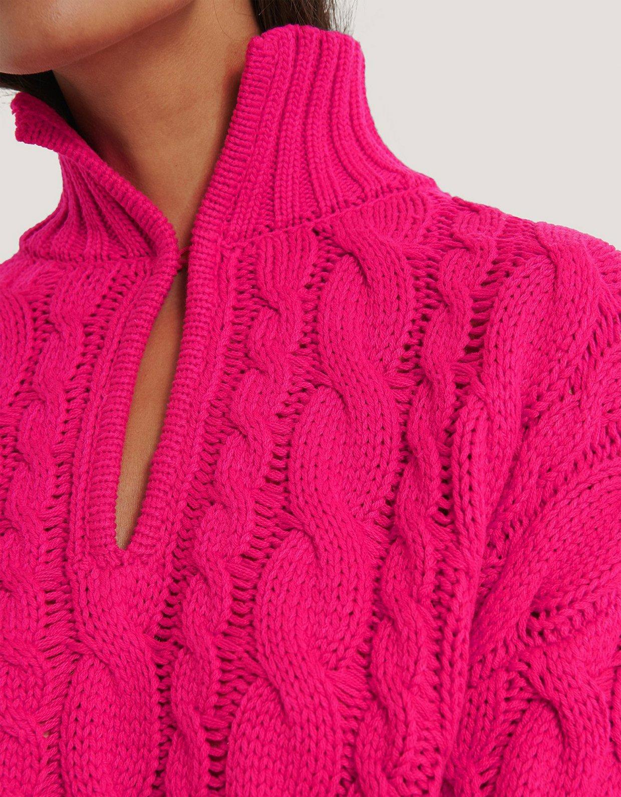 NA-KD Keyhole oversized cropped cable knit