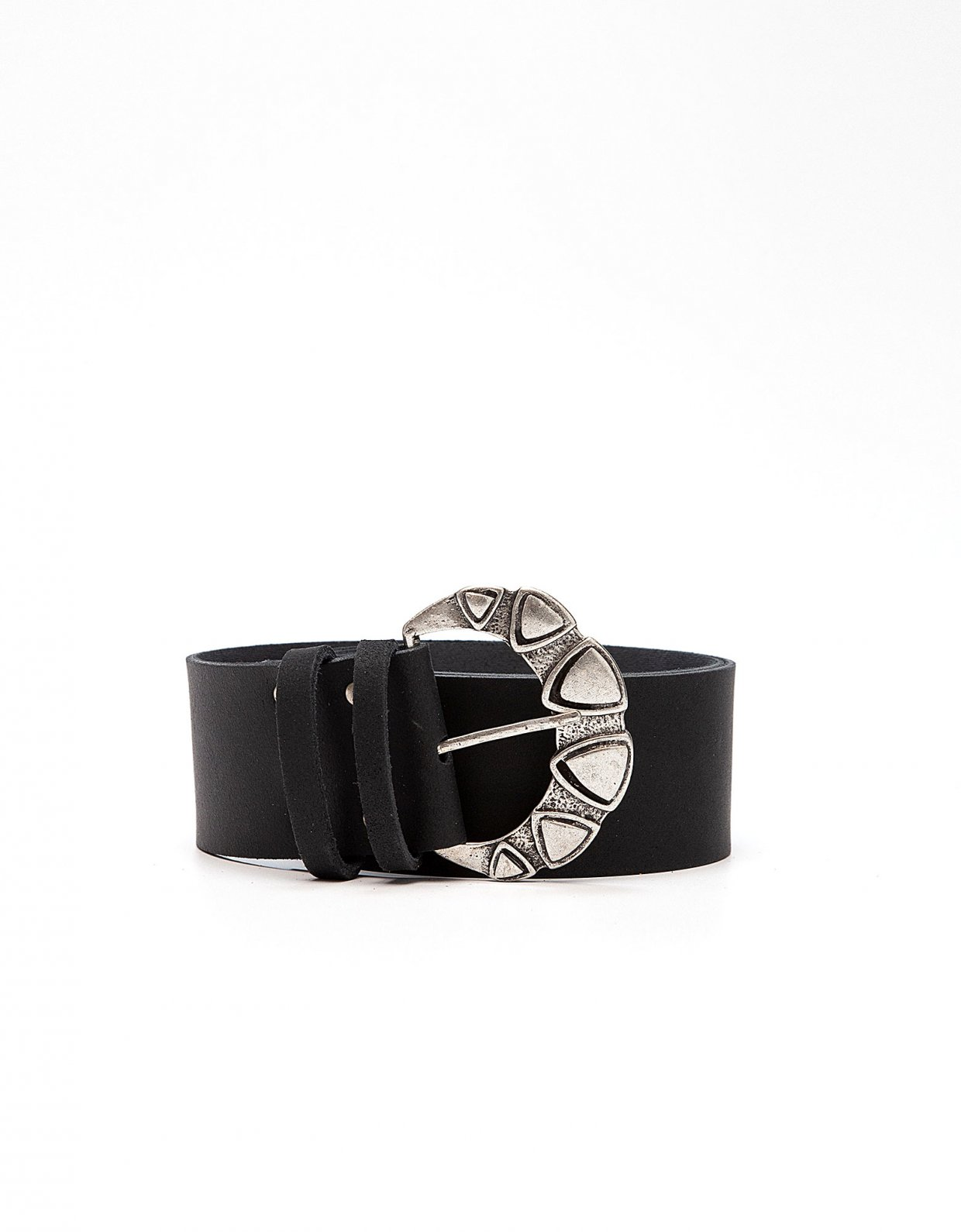 Peace & Chaos Triangles leather belt black
