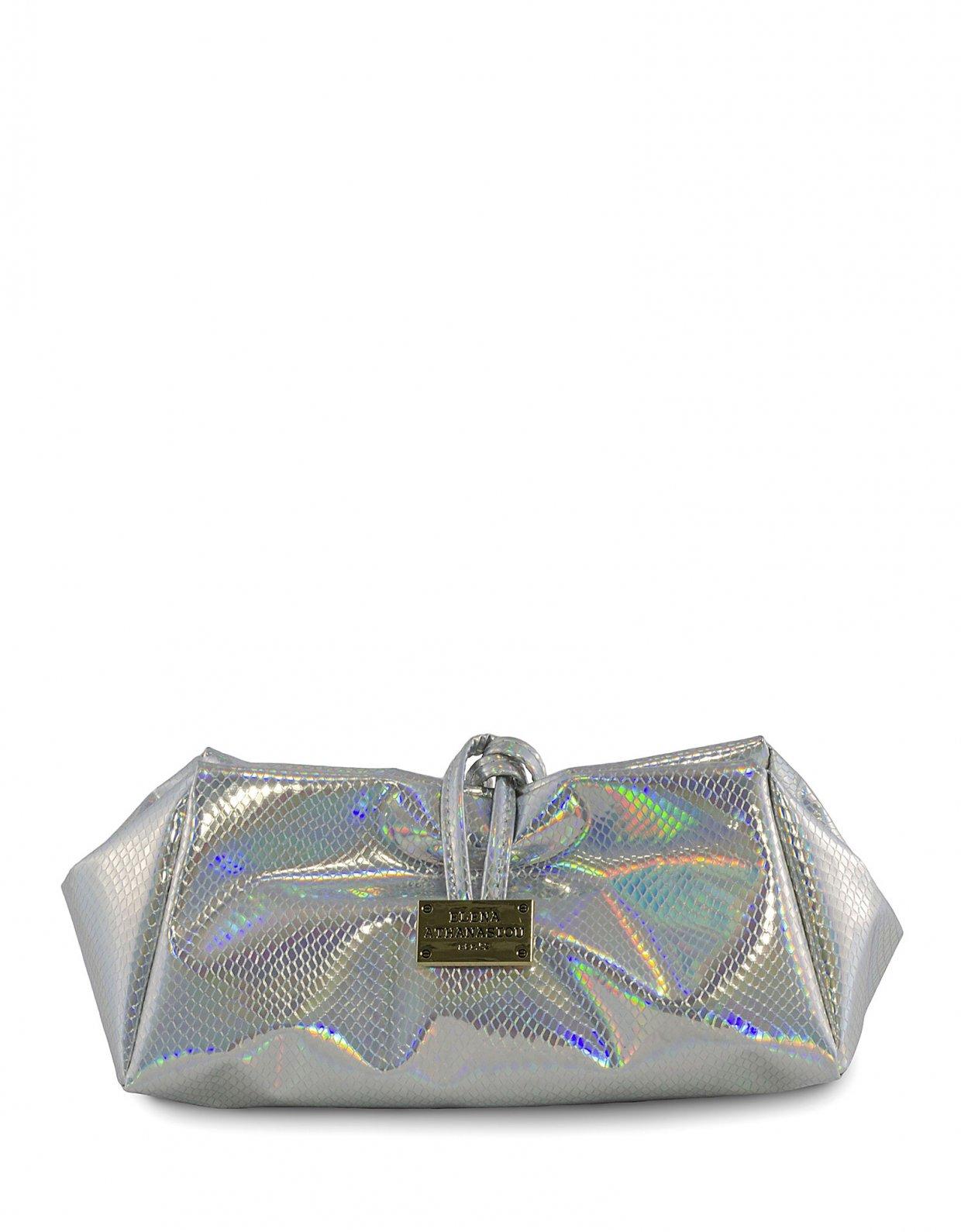 Elena Athanasiou Glitter silver lunch bag