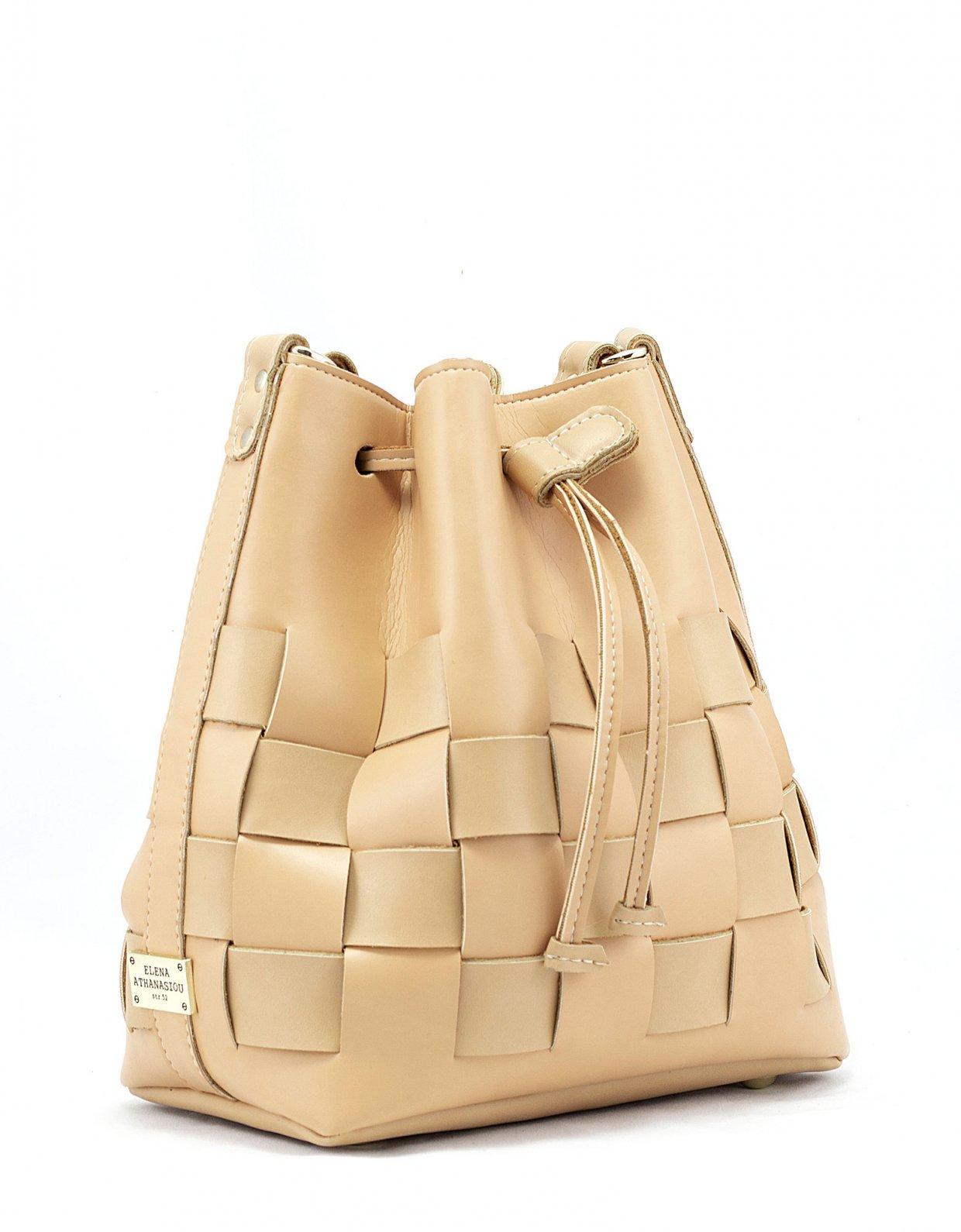 Elena Athanasiou Straw pouch bag caramela