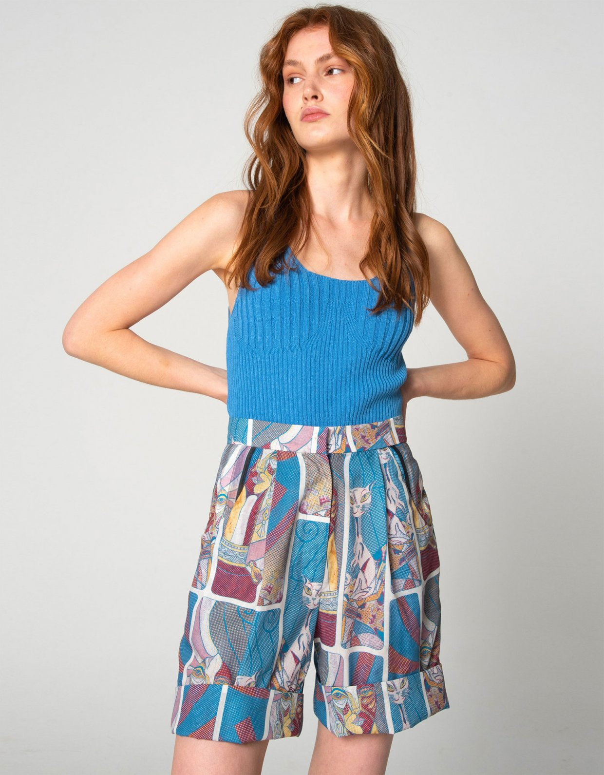 Nadia Rapti Tribes of knit top turquoise