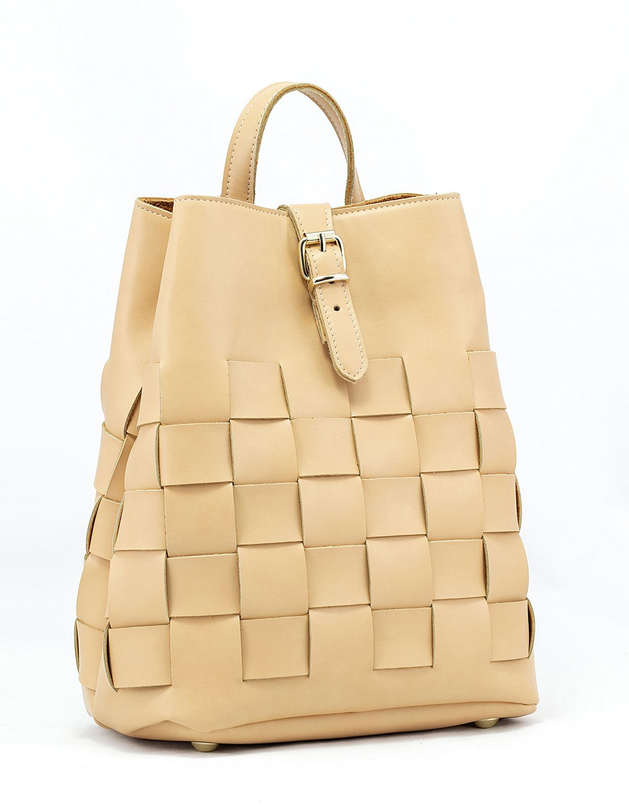 Elena Athanasiou Straw backpack caramela