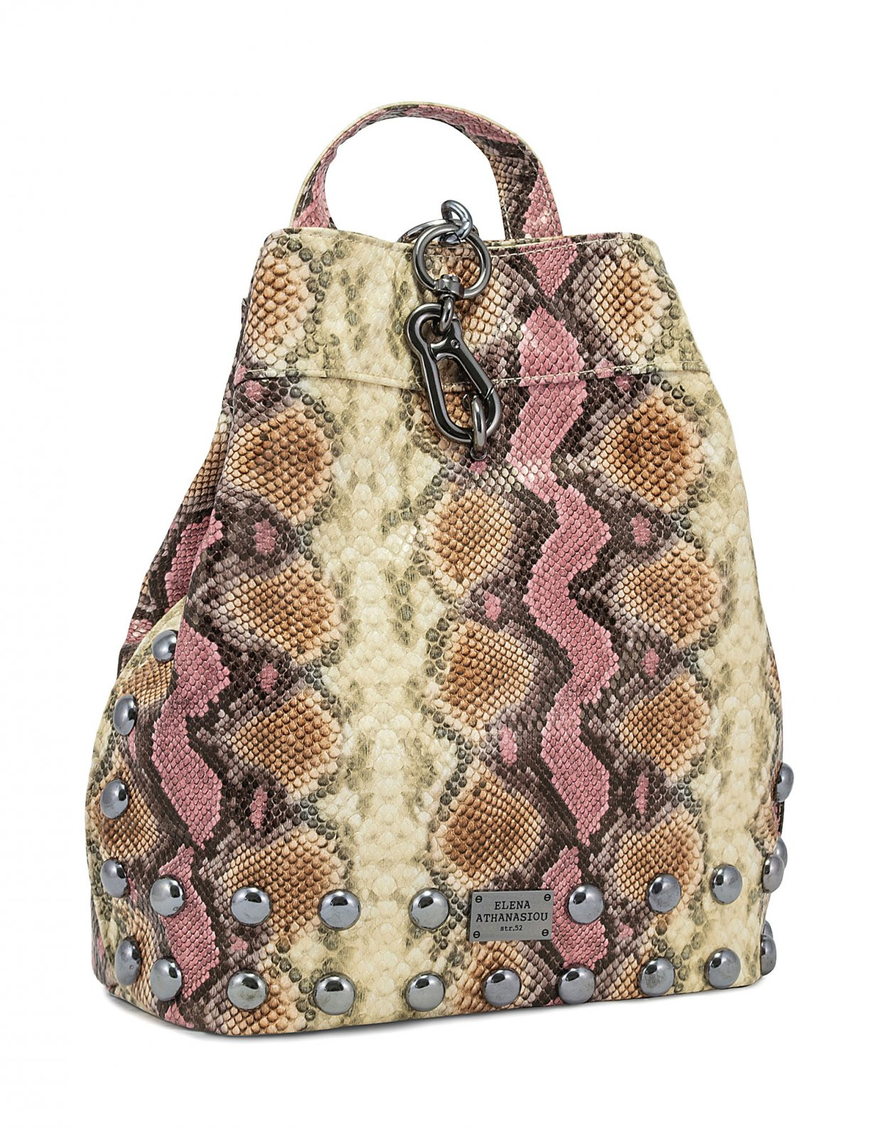 Elena Athanasiou Backpack snake pink beige