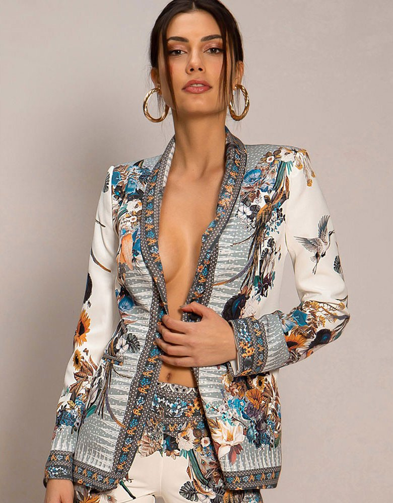 Peace & Chaos Art foliage blazer