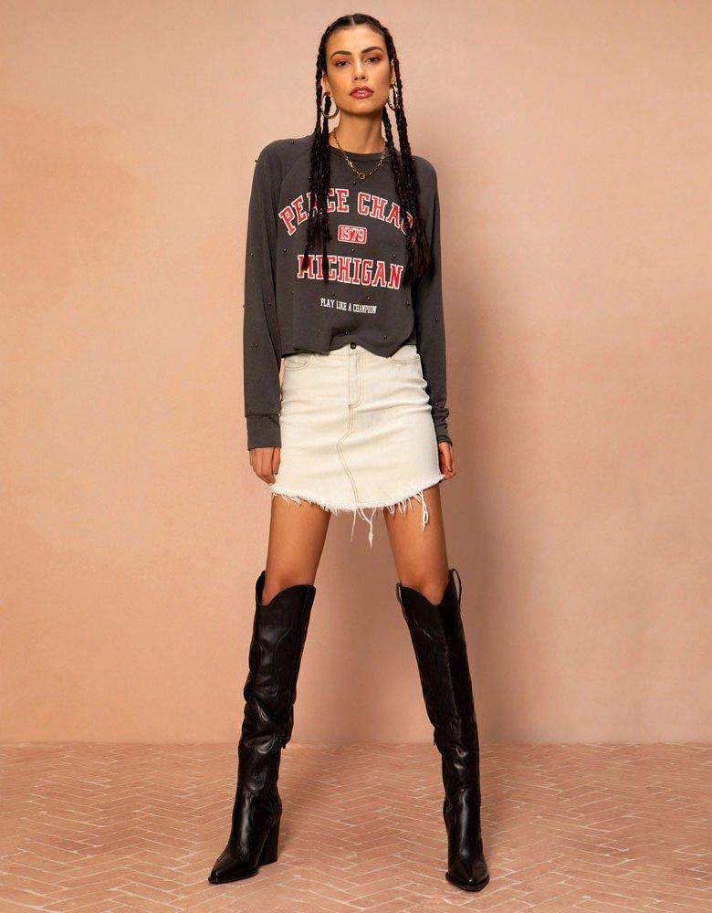 Peace & Chaos Bleached denim skirt
