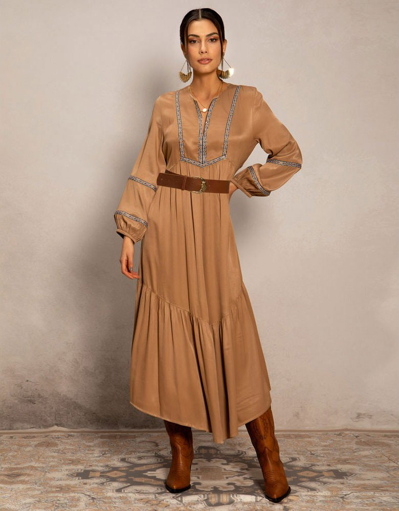 Peace & Chaos Gold trail long dress