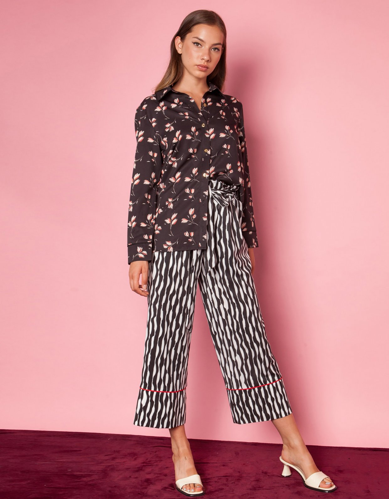 Mallory the label Moon black floral shirt