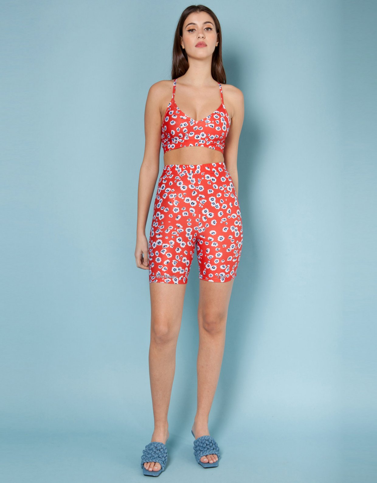 Mallory the label Primavera red floral shorts