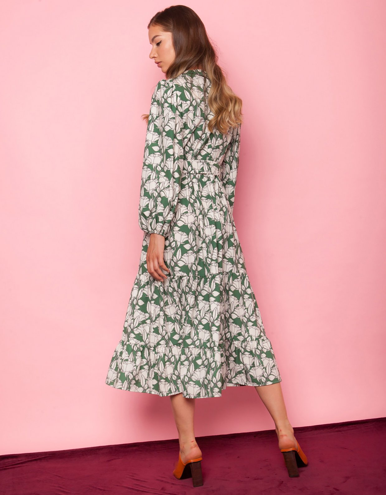 Mallory the label Desert rose green floral dress