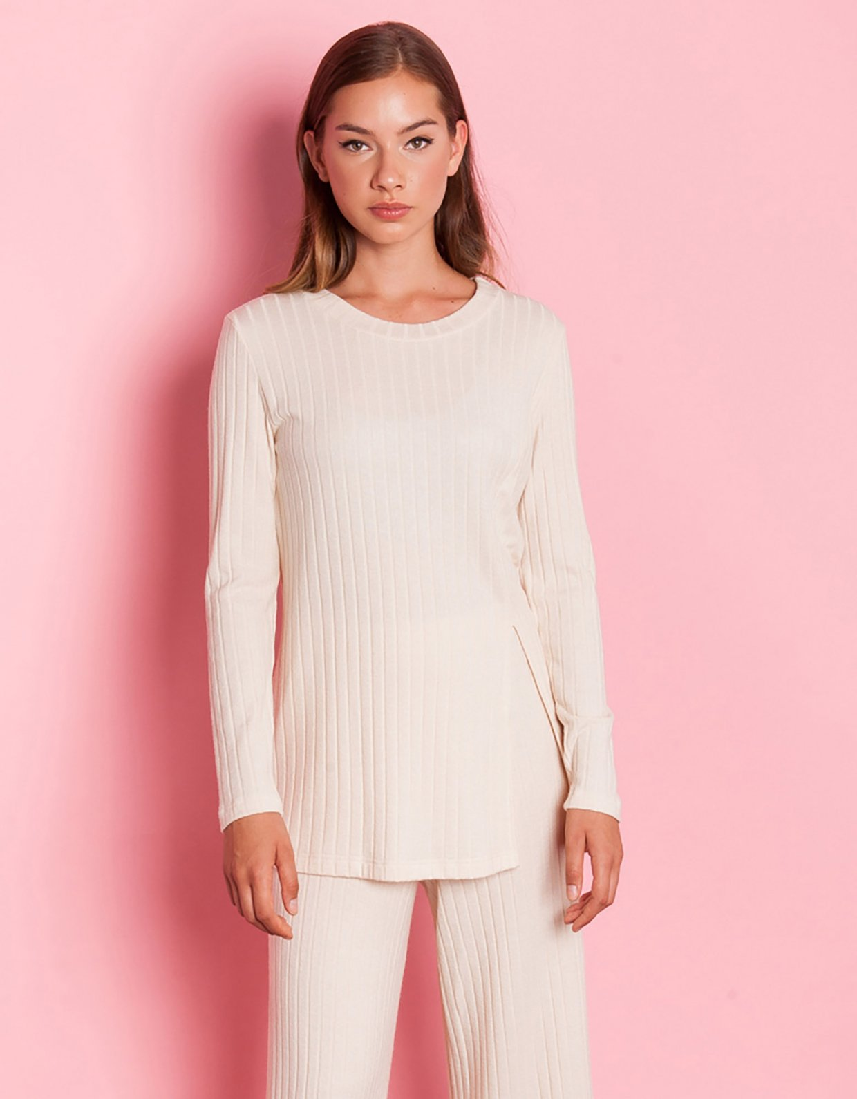Mallory the label Can you rib beige top
