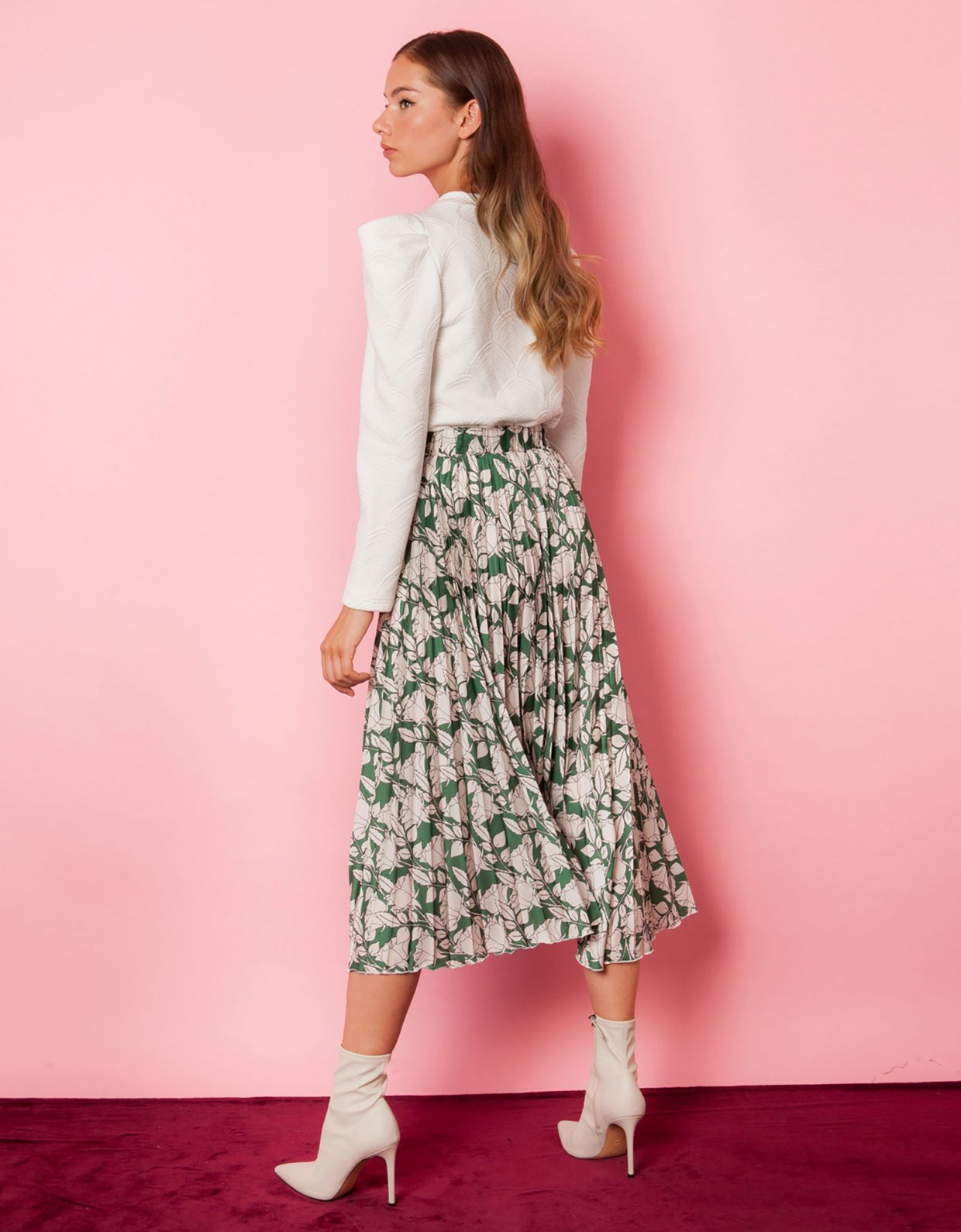 Mallory the label Iris green floral skirt