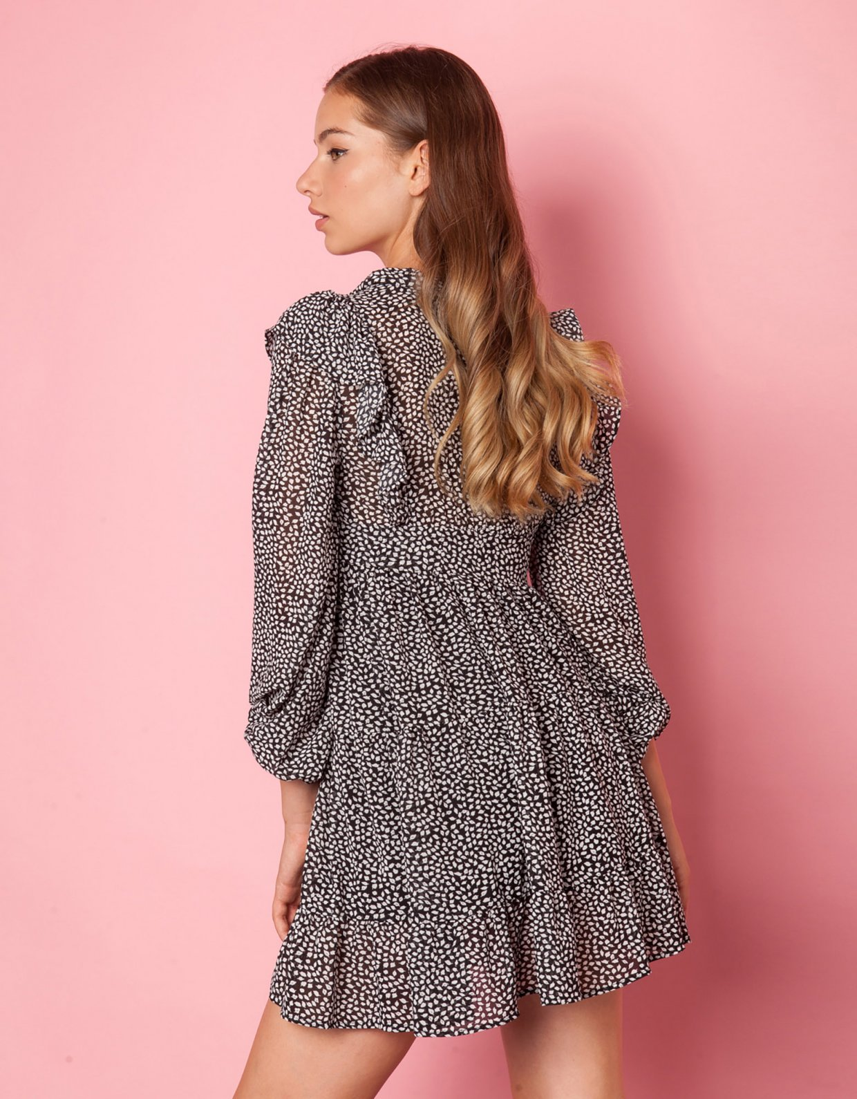 Mallory the label Key to my heart black & white dress