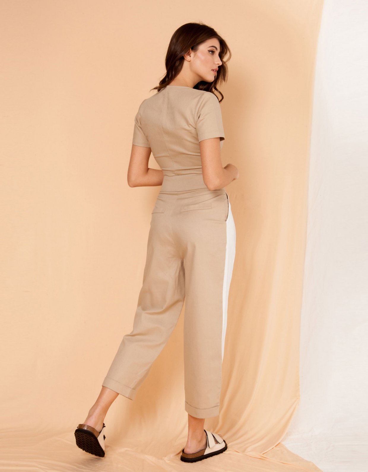 Mallory the label Milano camel crop top