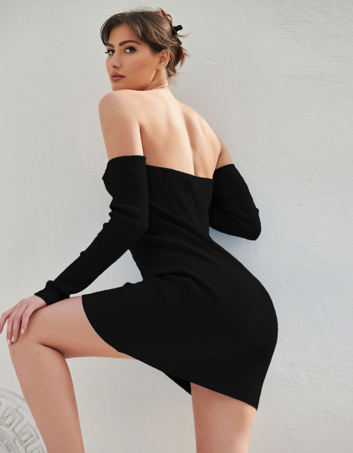 Combos Knitwear Combos S13 – Black off-shoulder dress