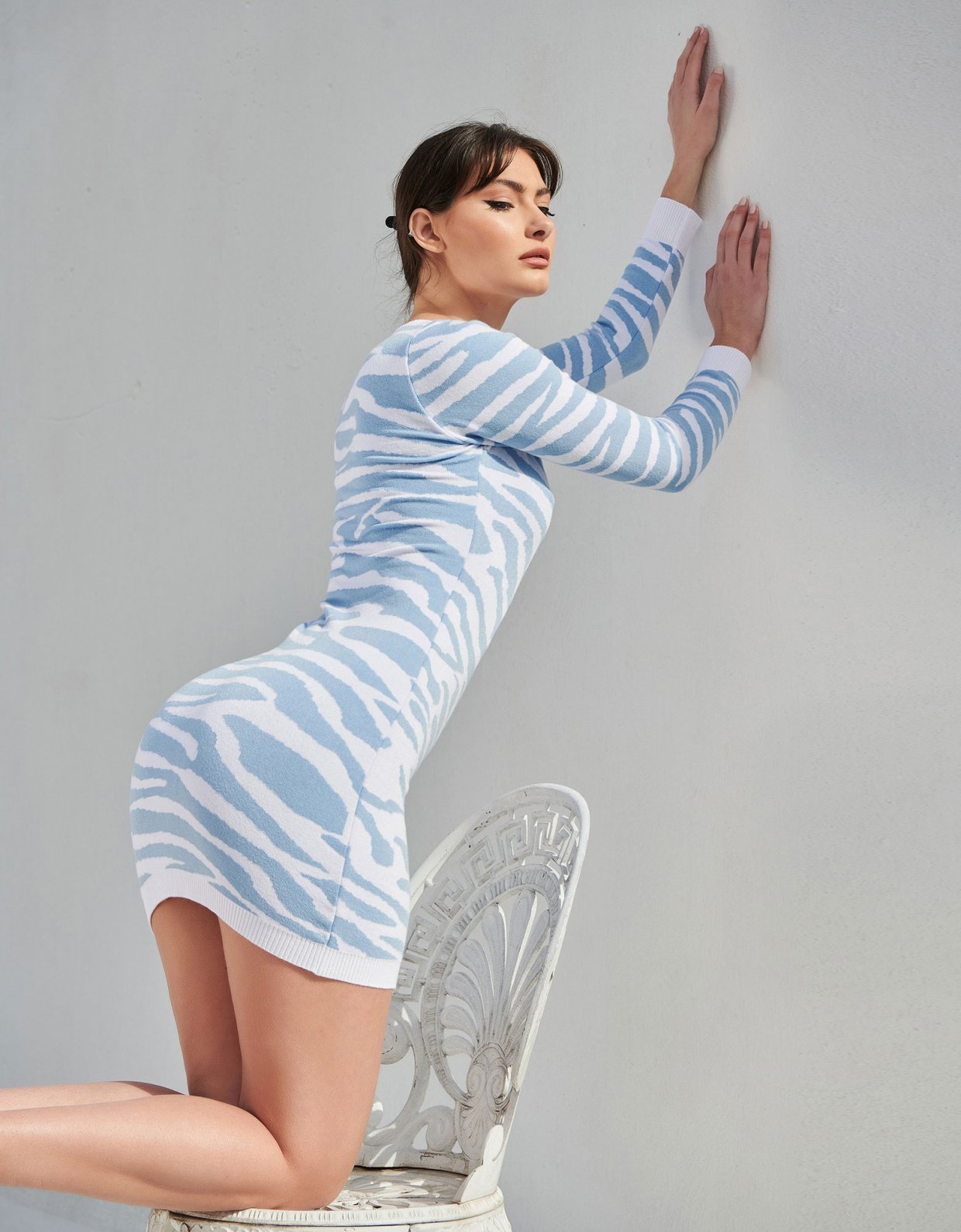 Combos Knitwear Combos S15 – Light blue zebra dress