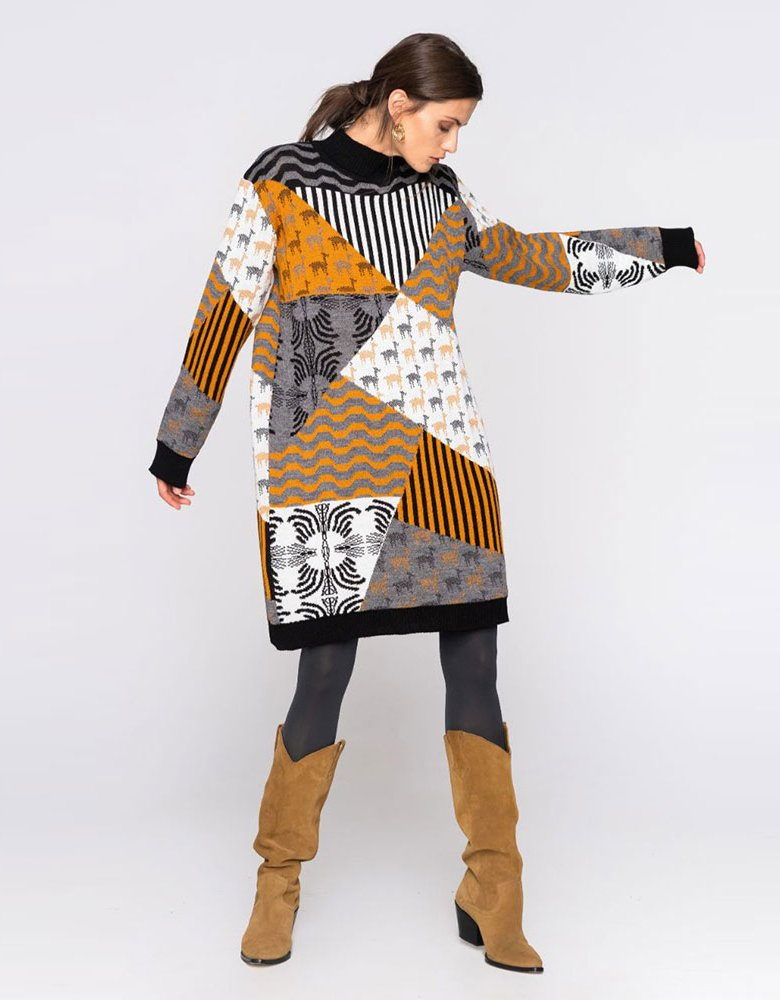 Nadia Rapti Knitted patchwork dress