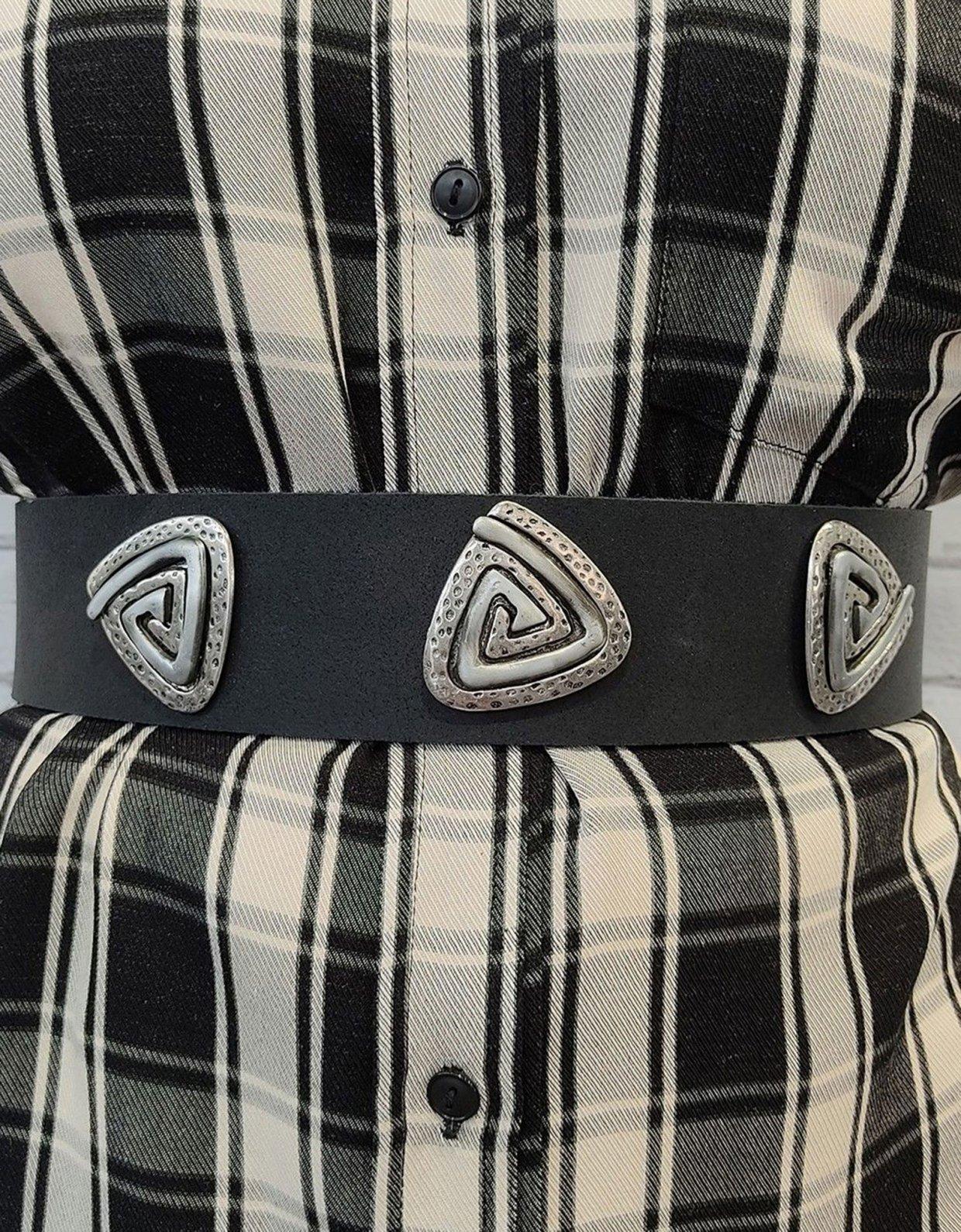 Peace & Chaos Three jewels belt black