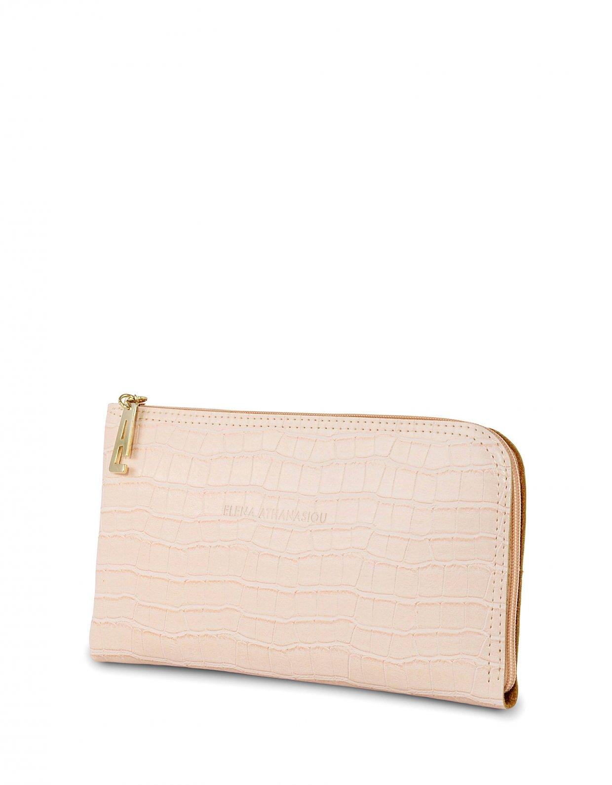 Elena Athanasiou Clutch bag powder pink croco