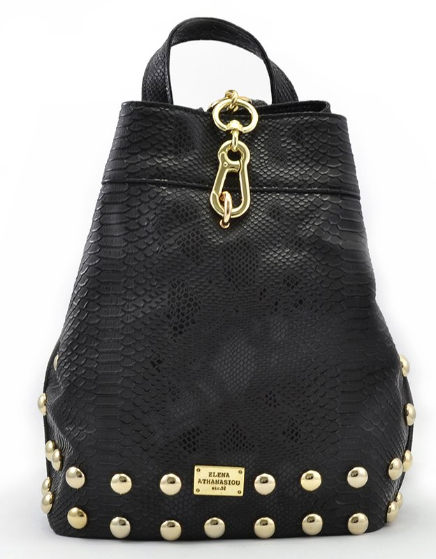Elena Athanasiou Backpack black snake gold