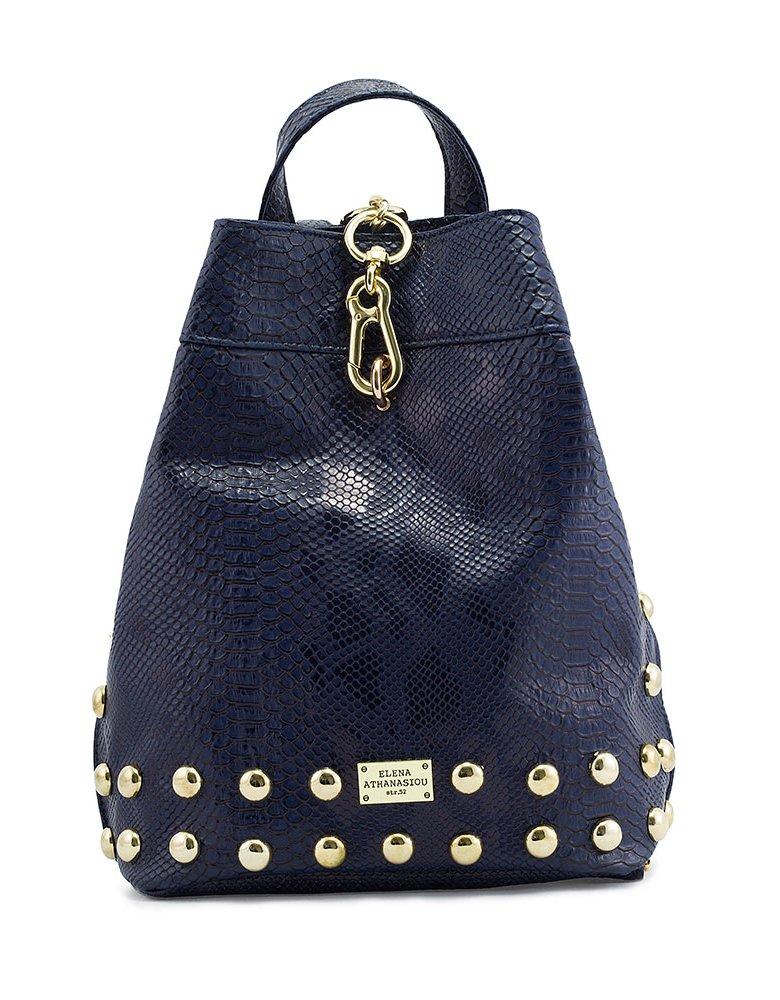 Elena Athanasiou Backpack navy blue snake bag