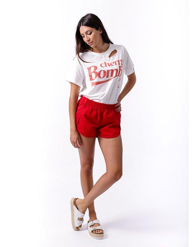 Salt & Pepper Rinat red shorts