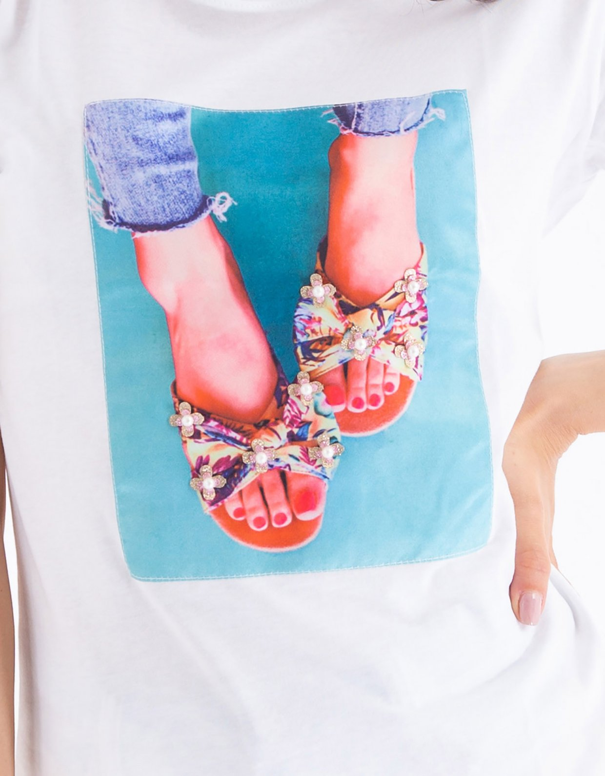 Ripped Cotton Slippers t-shirt