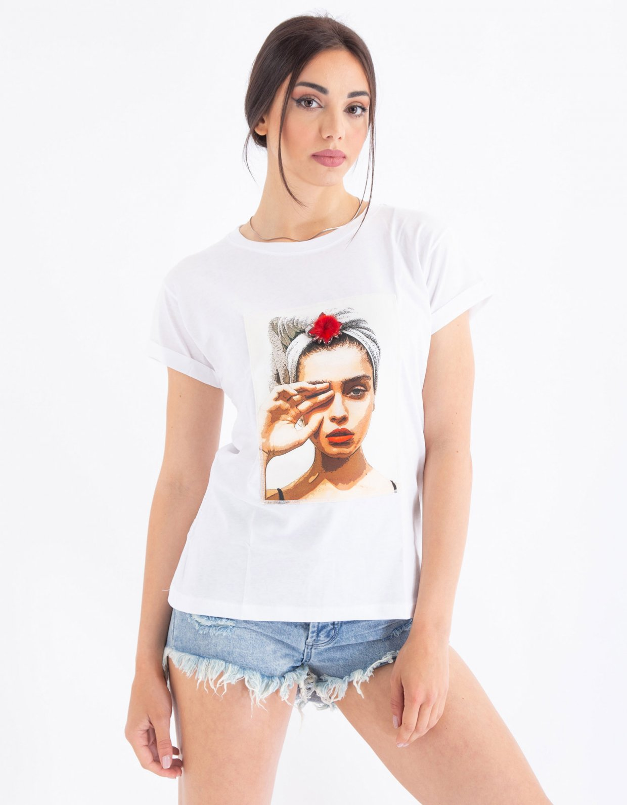 Ripped Cotton Turban white t-shirt