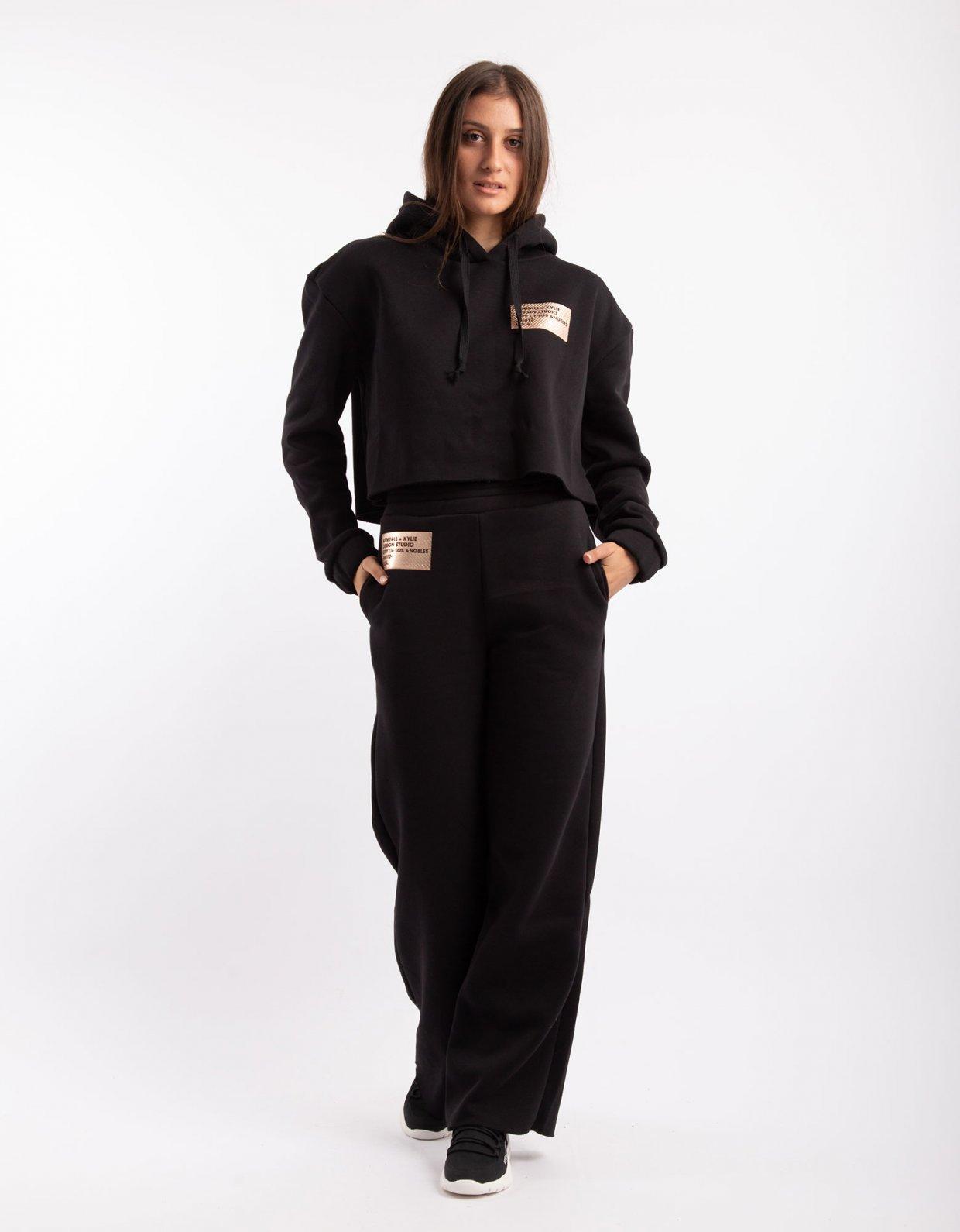 Kendall + Kylie Active high waist flare sweatpants black