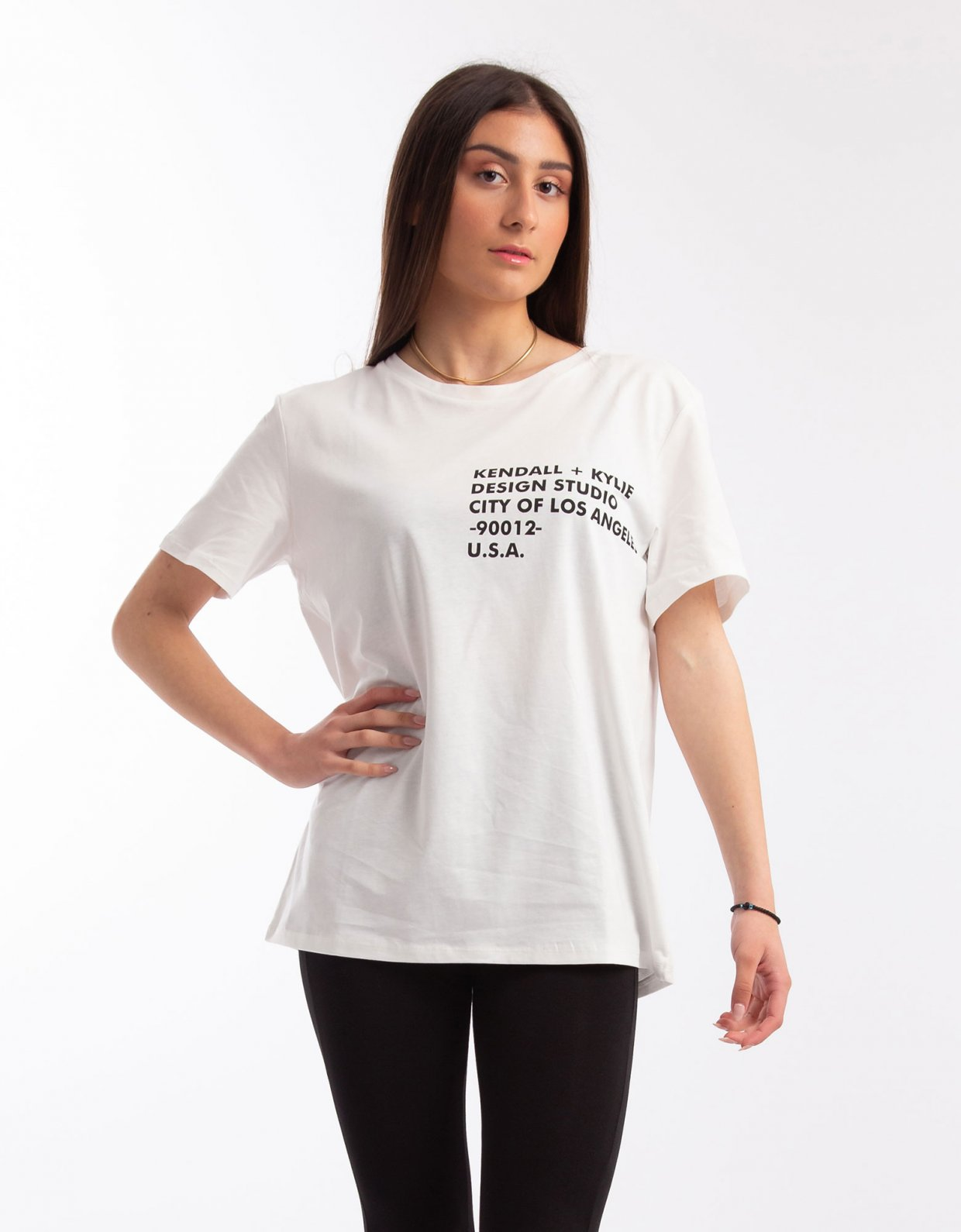 Kendall + Kylie Longfit logo t-shirt white