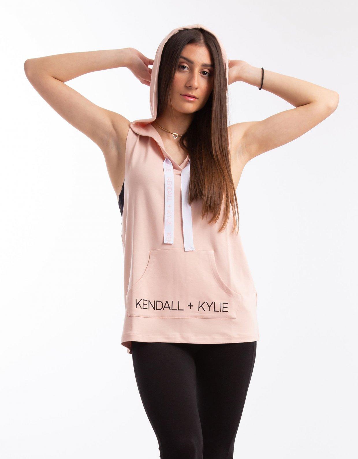 Kendall + Kylie Hoody logo tee pink