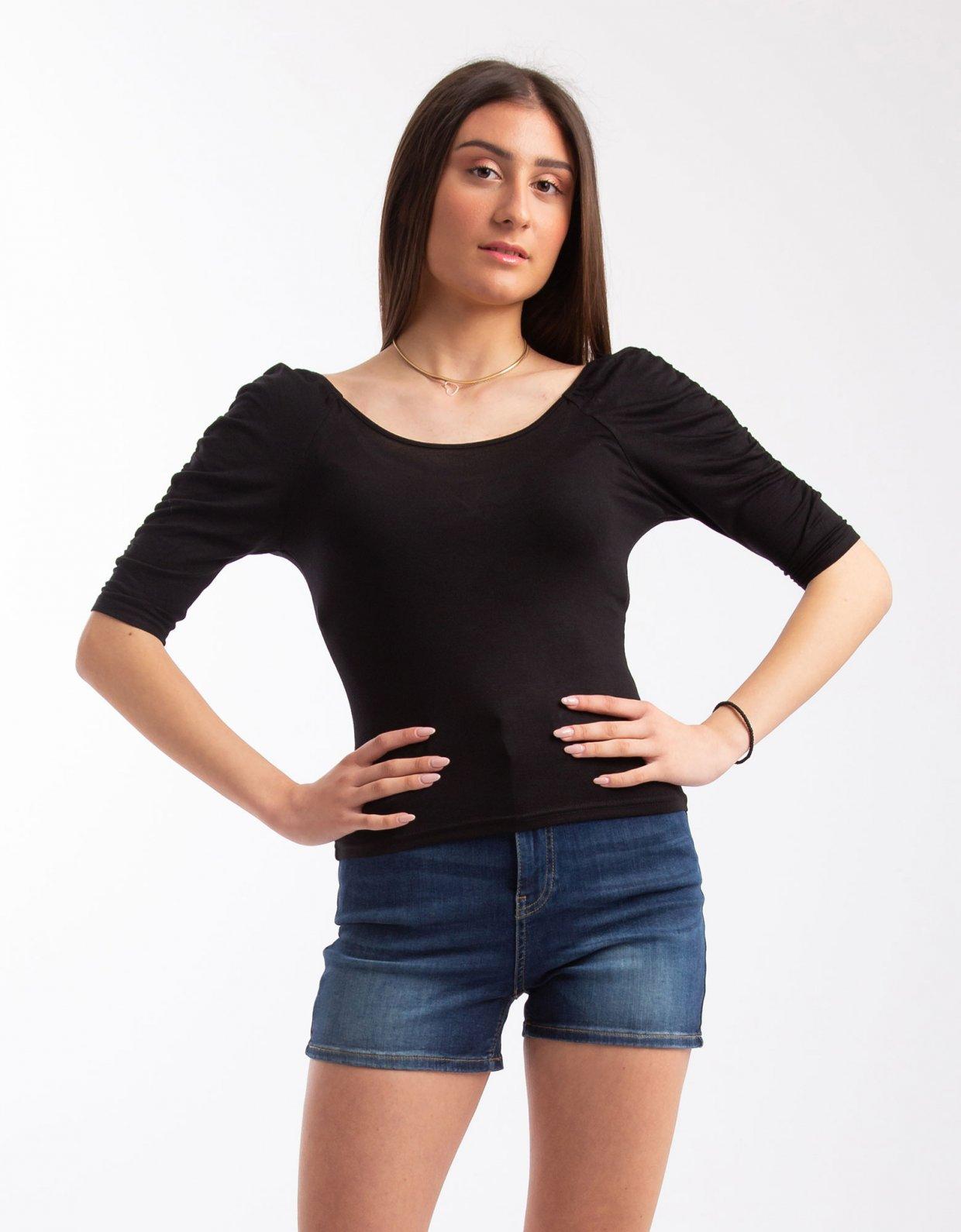 Kendall + Kylie Puff sleeve top black