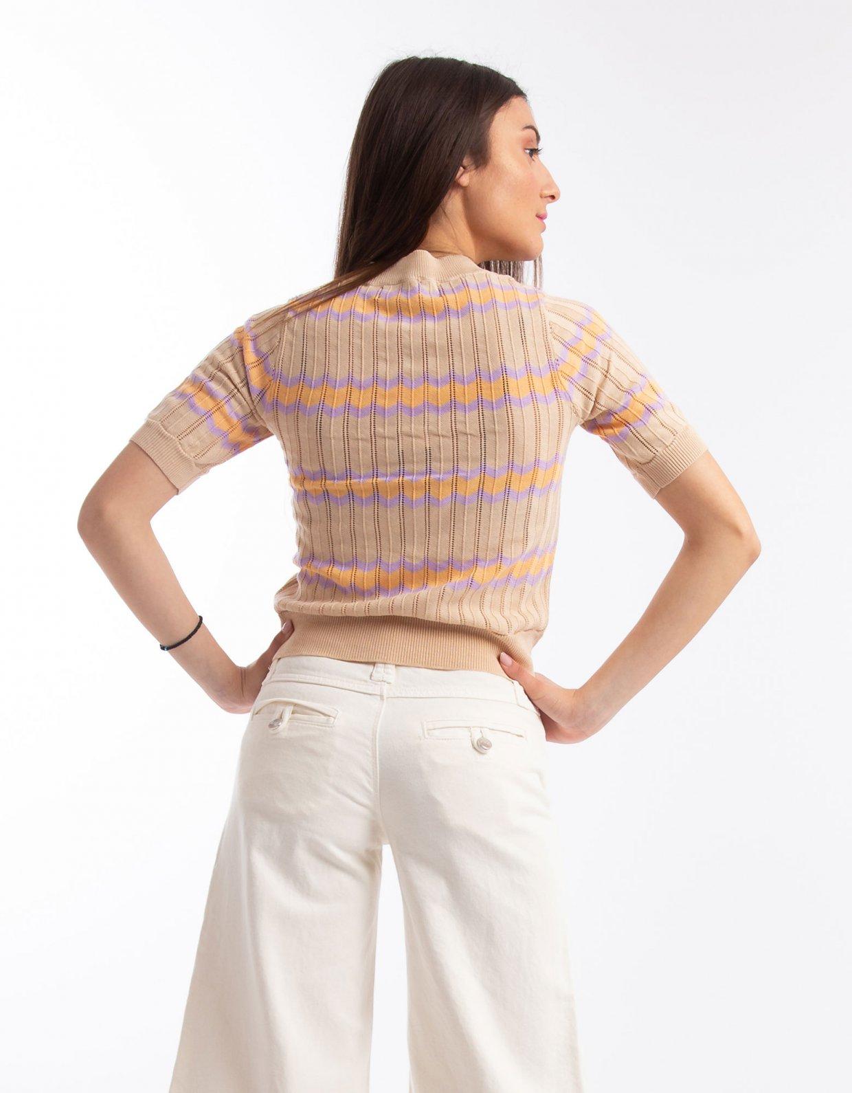 Kendall + Kylie Short sleeve zigzag stripe top